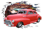 1947 Red Chevy Coupe Custom Hot Rod Diner T-Shirt 47, Muscle Car T