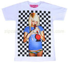Mens Retro Punk Rock Pop Sexy Vintage Finger Manga T-Shirt T-shirt White Unisex