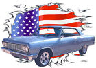 1964 Blue Chevy Chevelle Custom Hot Rod USAT T-Shirt 64, Muscle Car Tee's