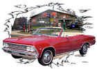 1966 Red Chevy Chevelle Convertible b Hot Rod Garage T-Shirt 66, Muscle Car Tee