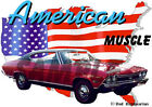 1968 Red Chevy Chevelle SS Super Sport Hot Rod USA T-Shirt 68, Muscle Car Tee's