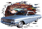 1961 Blue Chevy Impala Custom Hot Rod Diner T-Shirt 61, Muscle Car Tee's