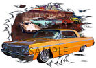 1964 Gold Chevy Impala Custom Hot Rod Diner T-Shirt 64, Muscle Car Tee's