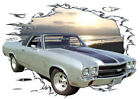 1970 Silver Chevy El Camino SS Custom Hot Rod Sun Set T-Shirt 70, Muscle Car Tee