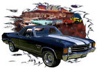 1972 Black Chevy El Camino SS Custom Hot Rod Diner T-Shirt 72, Muscle Car Tee's