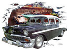 1956 Black Chevy Bel Air 4 Door Sedan Hot Rod Diner T-Shirt 56, Muscle Car Tee's