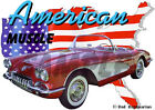 1959 Red Chevy Corvette a Custom Hot Rod USA T-Shirt 59, Muscle Car Tee's