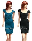 Teal Career/Pencil/Shift Dress for Work Cap Sleeves Self Belt Size 8 10 12 14