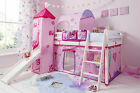 Cabin Bed Mid Sleeper Kids Bed with Slide  and Mattress  Choice of Colours