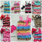 Baby Polka Dots Rose Zebra Leopard Giraffe Satin Lace Petti Rompers Headband 2pc