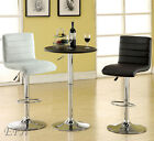 New 3pc Passore Black Or White Bycast Leather Chrome Metal Bar Dining Table Set