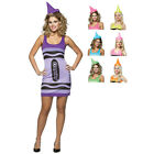 Ladies Licensed Crayola Crayon Sexy Tank Dress Fancy Dress Party Costume 4-10