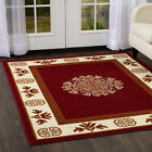 TRADITIONAL ORIENTAL BURGUNDY MEDALLION BORDER AREA RUG PERSIAN CARPET