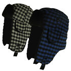 Boy Girls Kids Check Checked Trapper Hat Winter Warm Velcro Fastening Age 6 - 11
