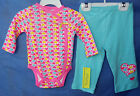 OFFSPRING 100% COTTON Little Pastel Hearts Bodysuit and Light Blue Pants NWT