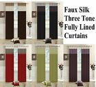 New FAUX SILK Fully Lined Striped CURTAINS Eyelet /Ring Top + Free Tiebacks