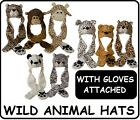 LONG PLUSH WILD ANIMAL HATS SCARF ALL IN ONE GLOVES KIDS TEENS LADIES HOOD SOFT