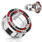 Pair Steel Black Clear Red CZ Gem Rim Screw Fit Plugs Tunnels Earlets Gauges