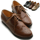 ollio Womens Oxfords Lace Ups Low Heels Wingtip Dress Multi Colored Shoes