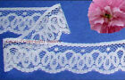 "10/20 Yd 1-3/4"" White Scroll Scalloped Lace Trim P09V Buy More-Ship No Charge"