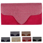 NEW WOMENS FAUX SUEDE RHINESTONES DIAMANTE LADIES FORMAL EVENING CLUTCH BAG