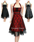 Lace Cocktail Evening Party Prom Dress Halter Black/Red/Grey Plus Size 24 to 10