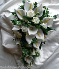 Bridal Brides Shower Bouquet Posy  Artifical Lily & Rose Wedding Flowers
