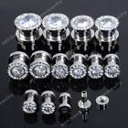 1Pair Stainless Steel Bling Clear Zircon Crystal Rims Screw Ear Plugs Tunnels EE