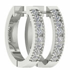 I1/G Channel Set 0.50 Ct Real Diamond Jewelry White Gold Hoops Huggies Earrings
