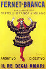 FERNET BRANCA KING OF BITTER DRINK ALCOHOL ITALY CAPPIELLO VINTAGE POSTER REPRO