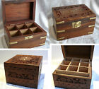 ESSENTIAL OIL SECTIONED STORAGE BOX 6 9 12 Bottles Hand Carved Wood Brass Inlay