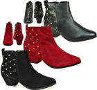 LADIES WOMENS BLACK RED MID LOW HEEL STUD FLAT CHELSEA ZIP CASUAL ANKLE BOOT 3-8