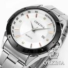 Orkina Mens 2 Colors Stainless Steel Date Sport Quartz Wrist Watch Gift