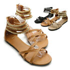 ollio Womens Beads Cross Strap Gladiator Strappy Flats Sandal Multi Colored