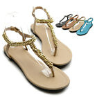 ollio Womens Shoes Beaded Thong Multi Colored Flat Sandals