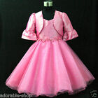 Hot Pink Communion Wedding Flower Girls Dresses + Cardign SIZE 2,3,4,5,6,7,8,10Y