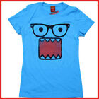 Domo Kun Girls T Shirt Juniot Girl  Woman Tee -4 Size Nerds Glass Blue
