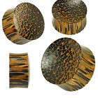 Pair (2) Solid Organic Palm Wood Double Sided Ear Plugs Tunnels Earlets Gauges