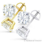 0.75ct Round Brilliant Cut Moissanite 14k Gold Stud Earrings Charles and Colvard