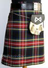 "8 YARD CASUAL SCOTTISH KILT BLACK STEWART TARTAN SIZES 30"" - 48"" 16OZ WEIGHT NEW"