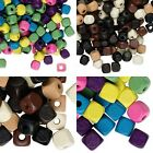 90 Gram Bag Assorted Mix of Bright or Neutral Wooden Square Cube Wood Beads