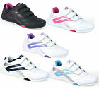 New Womens Mercury White Casual Velcro Sports Low Profile Trainers Size 3-9 UK