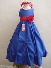 ROYAL BLUE RED BRIDESMAID PARTY FLOWER GIRL DRESS 2T 2 3 4 5 6X 6 7 8 9 10 12 14