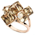 rose gold GP faux citrine swarovski crystal yellow square cube cocktail ring v66