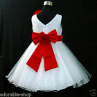 R668 Red Christening Bridal Pageant Event Flower Girls Dress SZ 0,2,4,6,8,10,12Y