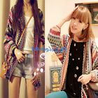 1pcs Colorful Lady Boho Ethnic Rainbow Weave Stripe Knit V Neck Cardigan Sweater
