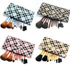 9 PCS Makeup Cosmetic Brush Set Tool with Grid Pattern Pouch Bag CHOOSE