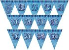 BLUE GLITZ - PRISMATIC TRIANGLE 12' BUNTING (Birthday Party Decorations)