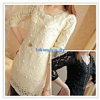New Arrivals Lady's Sweet Pearl Lace Chiffon Long Sleeve T-Shirt Tops Blouses