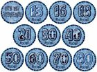 "BLUE GLITZ - 6"" (Giant) BADGE (Birthday Party/Boy/Male)"